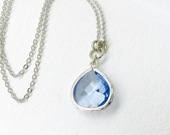 Sky Blue - Tear Drop - Crystal Glass Silver Long Necklace