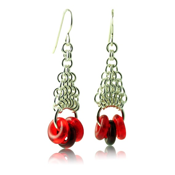 Cherry Red and Garnet Geometric Earrings with Sterling Silver Hand-Woven Chain Work Custom Handcrafted