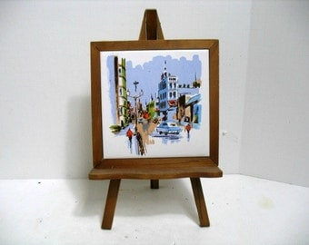 Mid Century Miniature Tile Painting Art & Easel Set City Scene Painting on Easel Stand Vintage