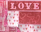 Sewn Love Pre-made Mat Set of 11, Valentine, Marriage, Wedding Themed, Use on Scrapbook Pages, Cards, As Post Cards
