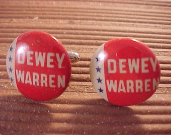 Cuff Links Dewey Warren Political Pinback Button