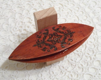 "Beautiful handmade rosewood tatting shuttle with engraved design 3"" long"