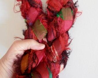 100 grams 1 skeins recycled silk   ribbon  knitting crochet craft embellishment yarn deep red