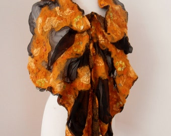 Nuno felted Merino Silk scarf wrap by plumfish black and burnt orange
