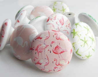Pink Flamingo Knobs, Tropical Flamingo Drawer Pulls, Palm Trees,  - 1 1/2 Inches