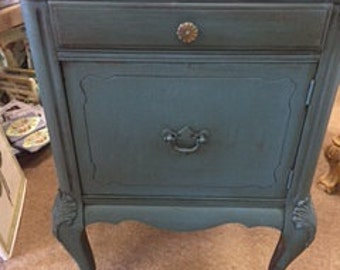 Deep Dark Teal Night Stand with Cabinet Bottom and One Drawer
