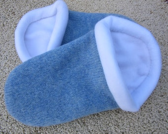 Blue Wool Slippers with White Lining - Women's Medium 7-8