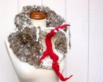 sock monkey. handknit art yarn cowl . oversized chunky knit cowl .  handspun wool cozy warm winter sustainable knitwear . cream brown red
