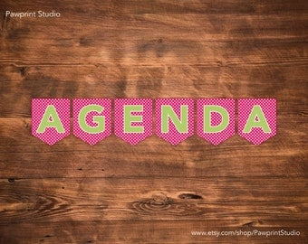 INSTANT PRINTABLE Bunting: AGENDA Classroom Bunting Banner (Green & Pink)