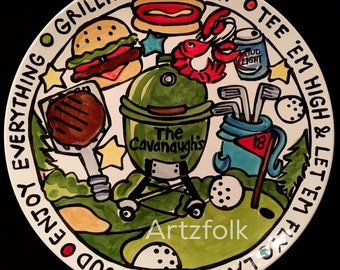 """13"""" Smoker custom Grillin BBQ Family  Platter Personalized great for dad too grill food platter"""