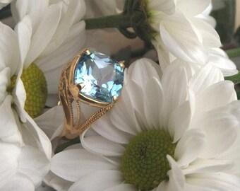Sky Blue Topaz Ring, Mandalay (Original Design) 18k Yellow Gold Ring, Handforged and Ready to Ship
