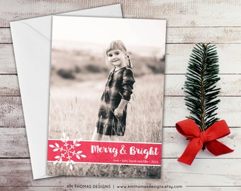 Snowflake Photo Holiday Card - Winter Photo Card - New Years Photo Card - Christmas Photo Card - Full Bleed Photo - Pink - WH155