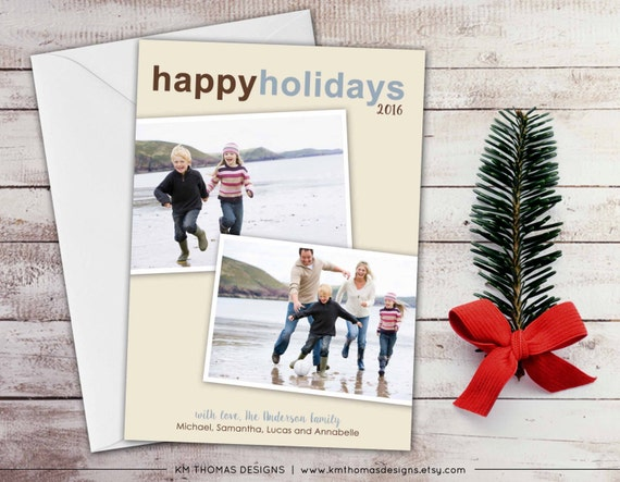 Printable Holiday Photo Card - Custom Photo Christmas Card - New Years Photo Card - Blue and Brown - Multiple Photos - WH136