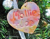 Personalized Heart Copper Ornament Christmas Gift for Couple, Metal Decoration, Xmas Tree Holiday Decor, Romantic Keepsake, Anniversary Gift
