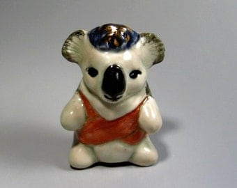 Kaola Bear Figurine Handmade Ceramic Sculpture Miniature Animal Totem Australia Collectible