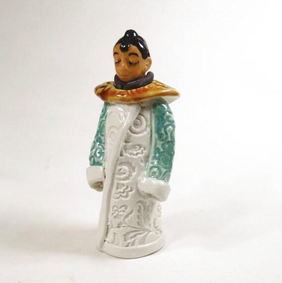 Ceramic Buddha Figurine Miniature Figurative Jar Vessel White and Green Handmade Pottery