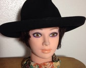 BLACK FEDORA style or Western Vintage Hat by Doree of New York 1970s