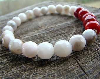 Agate Bracelet Gemstone Bracelet Beaded Bracelet Red Coral Bracelet Women's Bead Bracelet Stretch Bracelet Stacking Bracelet Spring Bracelet