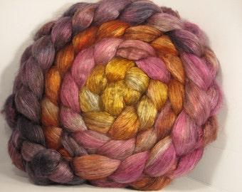 Yak Bombyx Silk 50/50 Roving Combed Top - 5oz - Hibiscus 2