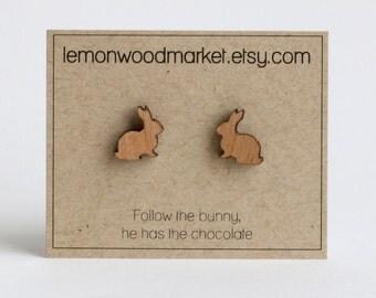 Easter Bunny earrings - alder laser cut wood earrings - Easter earrings