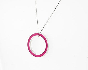 It's Okay Necklace -- magenta resin circle, sterling silver-- gift holliday