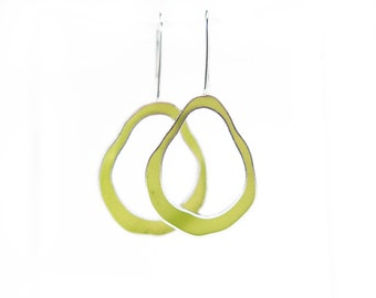 Wobble Earrings in sterling silver and moss green hand colored resin bright fun