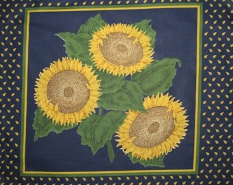 "Pillow Fabric Panel  All Cotton Fabric 45"" x 18"" Sunflowers Navy Blue Yellow"