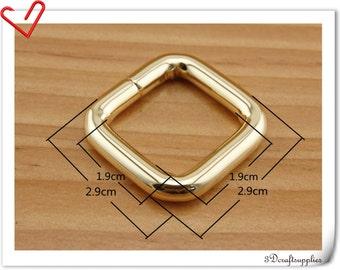 3/4 inch (inner diameter) gold rectangular buckles 12 pcs 5.0mm thickness U134