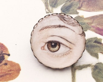 Jane Austen Hand-painted Eye Miniature Portrait Brooch Original Watercolor Pin