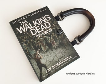 Walking Dead Zombies Recycled Book Purse - Zombie Gift - Invasion Walking Dead Book Cover Handbag