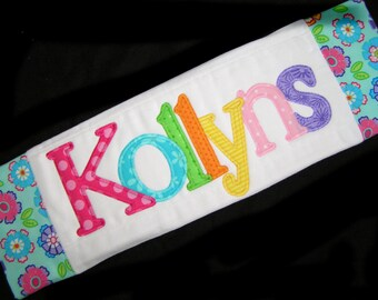 Personalized Baby Burp Cloth - Appliqued - Blue Flowers