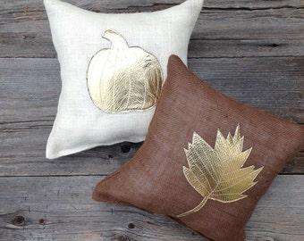 Autumn Pillow, Burlap Pillow, Holiday Decor, Fall Pillow, Brown Pillow, Burlap Pillow, Pumpkin Pillow, Cushion,Home Decor, Decorative Pillow