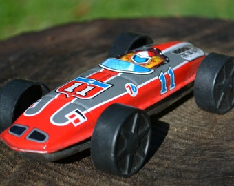 Vintage Tin Lithographed Toy Race Car - Union 76 Oil #11