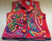 Vintage Embroidered Sweater Vest Knit Colorful Festive