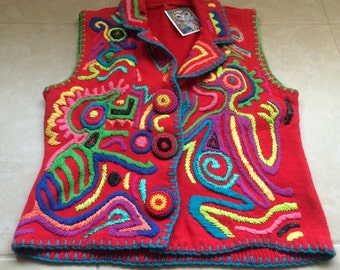Vintage Embroidered Sweater Vest Knit Colorful Festive