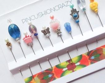 Decorative Pins - Variety. Pack - Embellishment Pins - Scrapbook Pins - Sewing Gift - Pincushion Pins -  Orphans & Strays