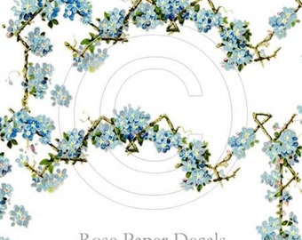 Beautiful Vintage Chic Victorian Shabby Blue Forget Me Nots and Border Floral Waterslide Water Slide Miniature Decals vf-125