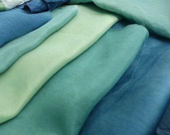 "Silk Fabrics Destash Natural Blue Green Indigo Plant Dye 3""x6"" to 9""x 20"" Naturally Dyed 18 Pieces Art Fabric New Vintage Small Silk Fabrics"