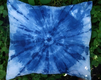 "Indigo Shibori Egyptian Cotton Pillow Cover Natural Plant Dye Blue White 22"" x 23"" Hand Dyed Large Decorative Pillow Case One  Pillow Cover"