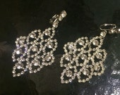 Vintage  Cluster rhinestone white long dangle silver tone Clip on earrings Wedding Bridal