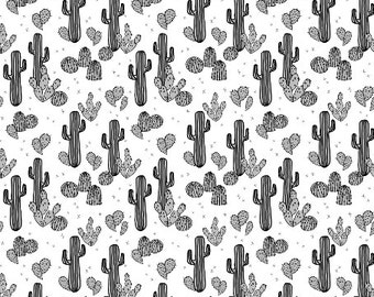 Cactus Fabric - Tiny Cactus / Cacti Cactus / Black, White, Grey, Kids Summer Exotic Tropical Print By Andrea Lauren - by the yard