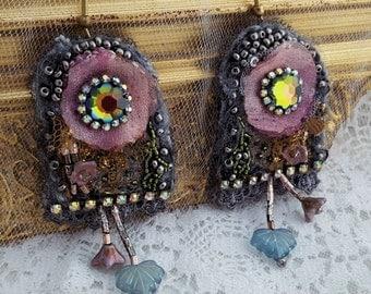Bead embroidery earrings, Statement earrings, Shabby Chic flower earrings,  Bohemian earrings, romantic gift for her, Boho Swarovski gray
