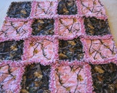 Small Pink and Brown Real Tree Camoflauge Baby Girl Rag Quilt Blanket 28x28