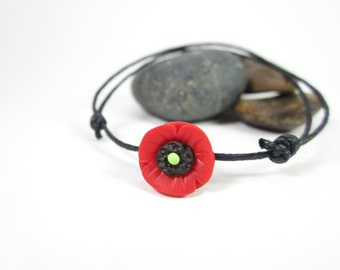 Poppy String Bracelet, Poppies flower bridesmaid jewelry, sister gift, sister bracelet, best friend gift, family gift for her, minimalist