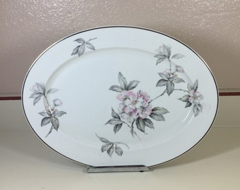 """14"""" Oval Serving Platter in Spring Glory (Platinum) by Manor House (USA)"""
