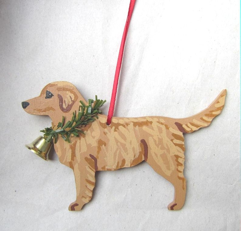 Hand-Painted GOLDEN RETRIEVER MEDIUM Color Wood Christmas Ornament Artist Original