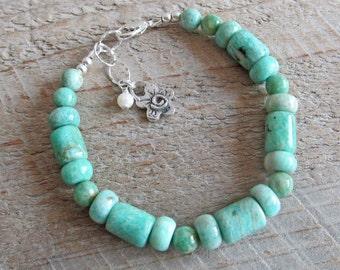 Amazonite Freshwater Pearl Sterling Silver Flower Spiral Healing Gemstone Bracelet