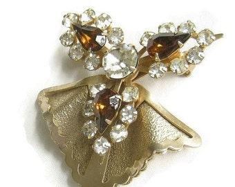 Vintage 1940s Amber and Clear Rhinestone Layered Retro Brooch or Pin