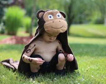 Yikes Twins Monkey  hooded towel