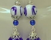 Vintage Japanese Glass Cobalt Blue White Bead Earrings, Vintage Japanese Cobalt blue glass beads, Bali handmade sterling silver ear wires,